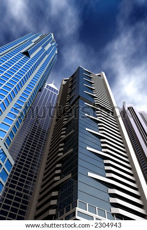corporate blue buildings made in 3d - stock photo