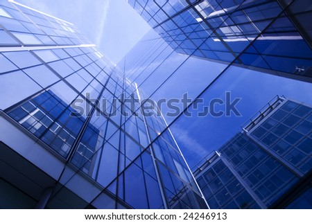 Corporate building.Vivid blue and turquoise office building. - stock photo