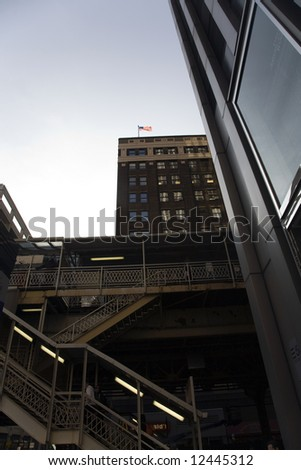 Corporate Buildings and Skyscrapers in Chicago and the Elevated Train - stock photo