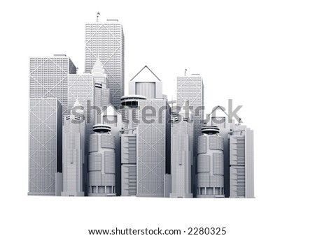 corporate buildings illustration made in 3d over white - stock photo
