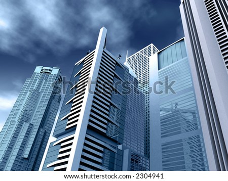 corporate buildings in blue tones made in 3d - stock photo