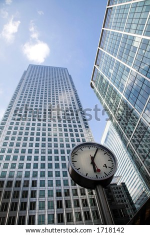 corporate buildings in canary wharf - stock photo