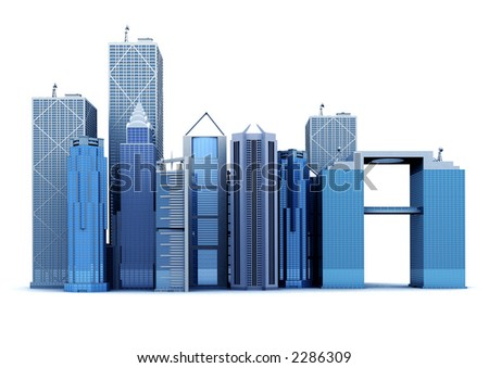 corporate buildings made in 3d over a white background - stock photo