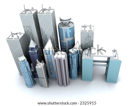 corporate buildings rendered from a high angle over a white background - stock photo