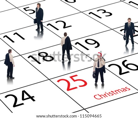 Corporate business calendar for Christmas with happy employee - stock photo