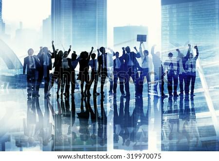 Corporate Business People Success Team Celebration Concept - stock photo