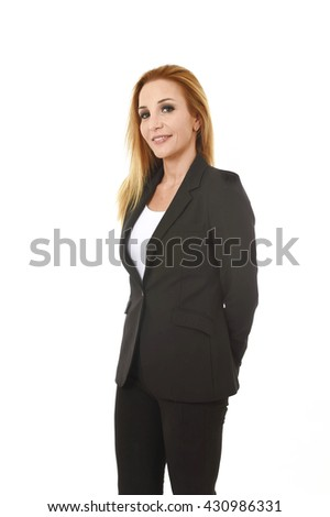 corporate business portrait attractive blond hair businesswoman smiling happy and confident isolated on white background in female career success - stock photo