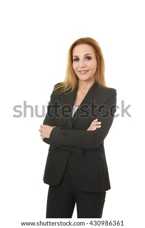 corporate business portrait attractive blond hair businesswoman with folded arms smiling happy and confident isolated on white background in female career success - stock photo