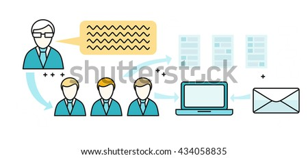 Corporate business workflow banner design flat. Organization people work in a team. Workflow for a large corporation business. Structure of communication between employees company.  illustration