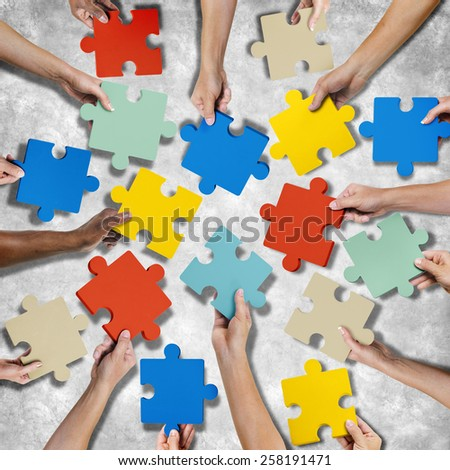 Corporate Connection Togetherness Map Jigsaw Puzzle Concept - stock photo