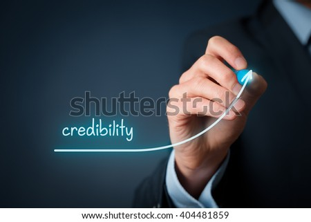 Corporate credibility improvement concept. Businessman (o PR specialist) plan to improve credibility of his company. - stock photo