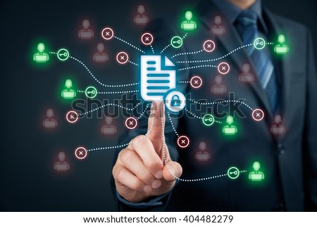 Corporate data management system (DMS) and document management system with privacy theme concept. Businessman publish protected document connected with users, access rights symbolized by key. - stock photo
