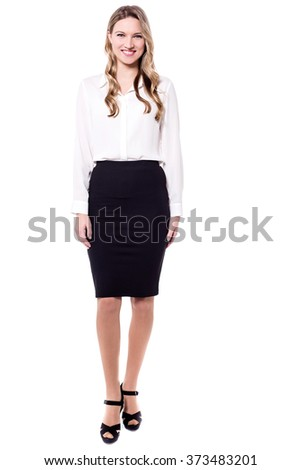 Corporate female executive isolated on white, full length - stock photo