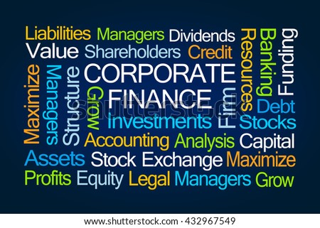 Corporate Finance Word Cloud on Blue Background - stock photo
