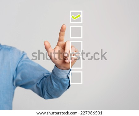 Corporate guy hand touching on virtual screen