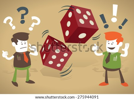 Corporate Guys play a risky business game and gamble on their financial futures with casino dice. - stock photo