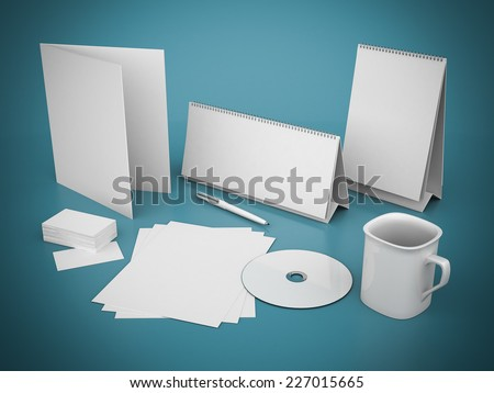 Corporate identity template on a beautiful blue background - stock photo