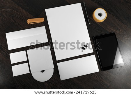 Corporate identity template on wooden background. For design presentations and portfolios. - stock photo