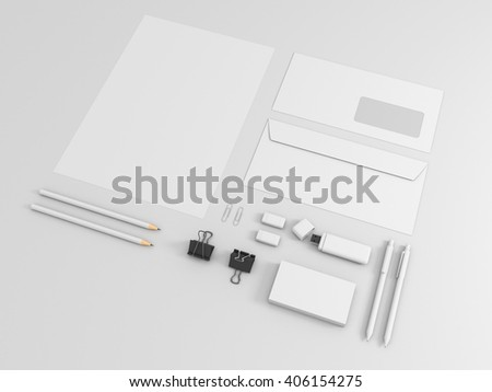 Corporate identity template set. Business stationery mock up with white blank. Branding design. Isolated on background. Letter envelope, card, catalog, pen, pencil, paper. 3d illustration