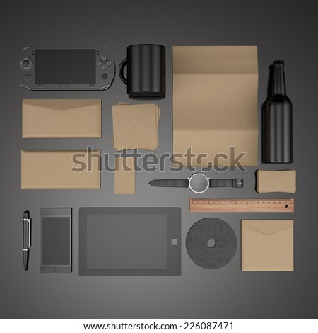 Corporate identity templates:blank, business cards, disk, envelope, smart phone, pen, badge, cup, brand-book, portable console. tablet pc. Isolated with soft shadows - stock photo