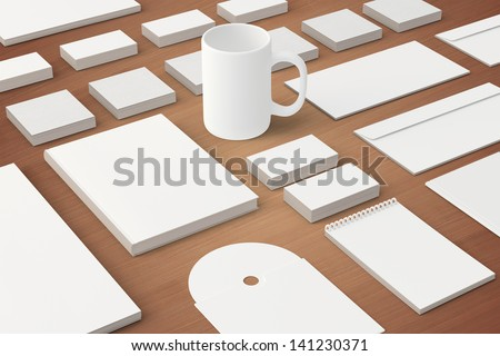 Corporate identity templates. / Corporate identity templates:blank, business cards, disk, envelope, cup, brand-book, note. Isolated with soft shadows on wooden background - stock photo