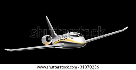 Corporate jet isolated on black background - stock photo