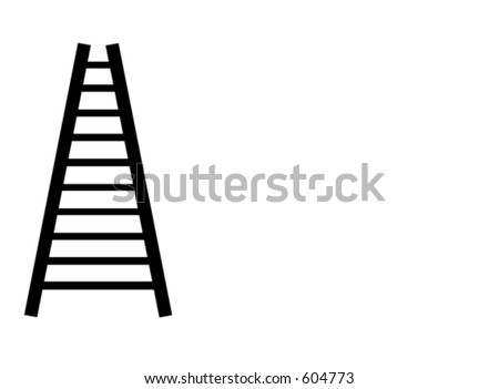 corporate ladder - black on white - stock photo