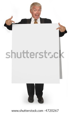 Corporate looking senior executive wearing a blank sandwich board - stock photo