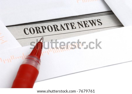 Corporate news in newspaper, business concept