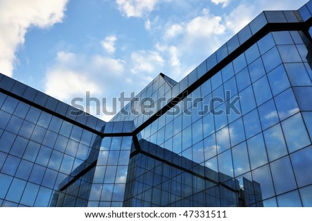 corporate office building with large, glass windows