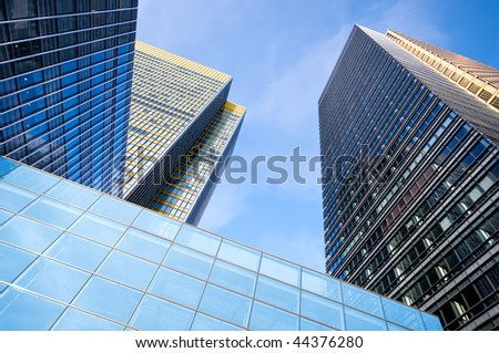 Corporate office buildings in Canary Wharf, London. - stock photo