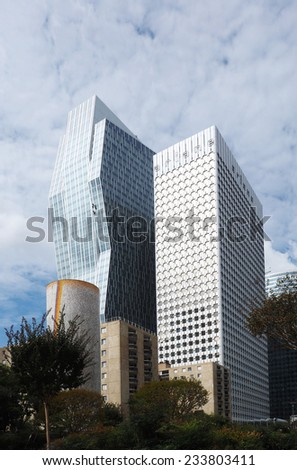 Corporate office buildings in the business park of La Defense in Paris. - stock photo