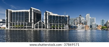 Corporate Office Buildings. Office building at Canary Wharf, London.