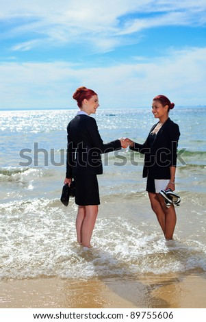 Corporate on the beach - stock photo