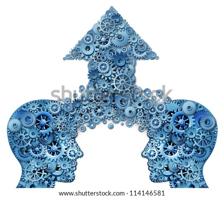 Corporate partnership and business teamwork growth concept with two human head shapes merging together to form an upward arrow made of gears and cogs as a financial success symbol on white.