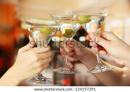 Corporate party martini glasses - stock photo