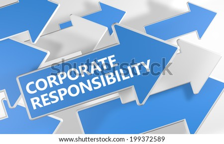 Corporate Responsibility 3d render concept with blue and white arrows flying over a white background. - stock photo