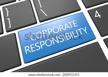 Corporate Responsibility - keyboard 3d render illustration with word on blue key - stock photo