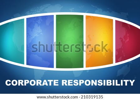 Corporate Responsibility text illustration concept on blue background with colorful world map - stock photo