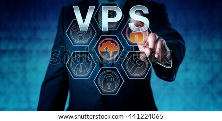 Corporate service provider is pressing VPS on virtual interactive touch screen interface. Business metaphor. Web hosting and computer network security concept for server virtualization. - stock photo