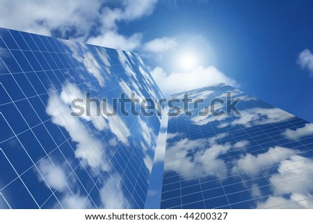 corporate skyscrapers with sky reflection; 3d image - stock photo