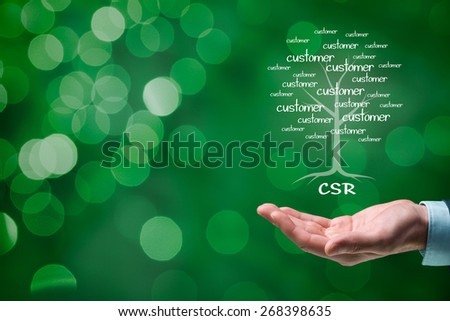 Corporate social responsibility (CSR) concept. Corporate conscience, corporate citizenship and sustainable responsible business. - stock photo