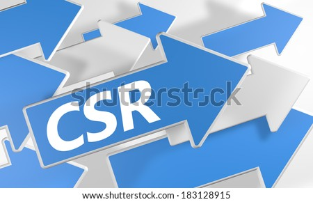 Corporate Social Responsibility 3d render concept with blue and white arrows flying over a white background. - stock photo