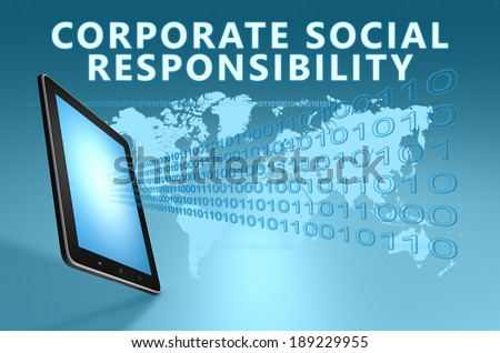 Corporate Social Responsibility illustration with tablet computer on blue background - stock photo