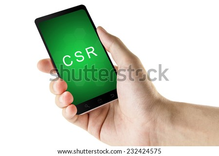 Corporate social responsibility or CSR word on phone isolated white background