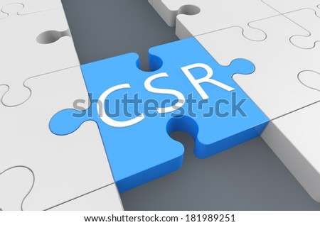 Corporate Social Responsibility - puzzle 3d render illustration - stock photo