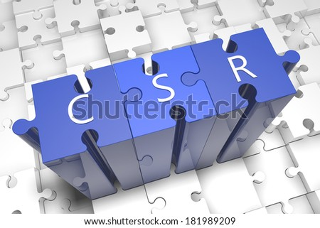 Corporate Social Responsibility - puzzle 3d render illustration with text on blue jigsaw pieces stick out of white pieces
