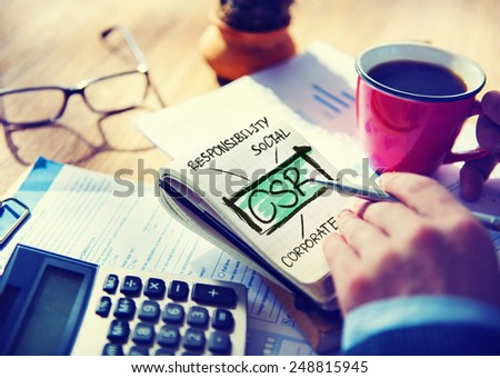 Corporate Social Responsibility Sustainability Responsible Office Accounting Concept - stock photo