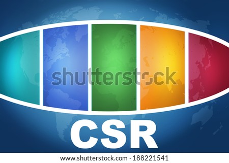 Corporate Social Responsibility text illustration concept on blue background with colorful world map - stock photo