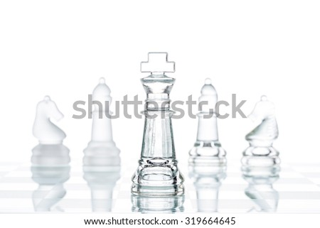 Corporate strategy Business Choice, transparent glass Chess group Isolated - stock photo